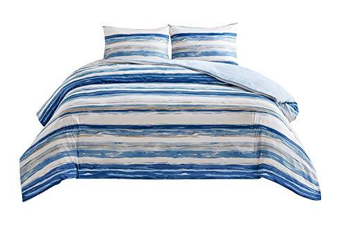 SCM Bettwäsche 200x200cm Blau Weiß in Aquarelloptik Mikrofaser 3-teilig Bettbezug & Kissenbezüge 50x75cm Geometrisch Ideal für Schlafzimmer Marina