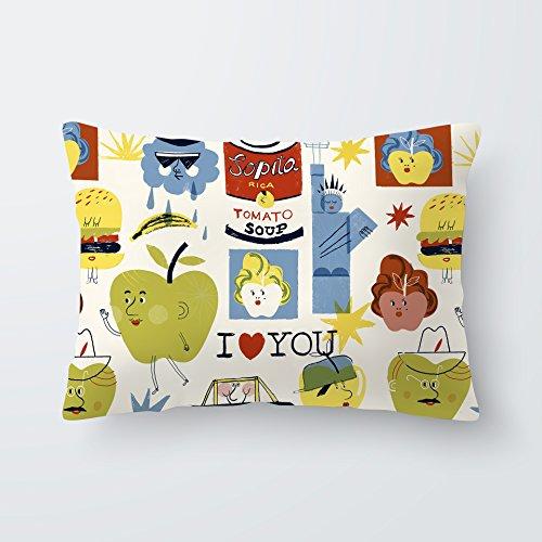 SLEEPAA Kissenbezug Kopfkissen Bezug Ruhekissen Überzug 30x50 cm Waschbar Made in Spain (Big Apples)