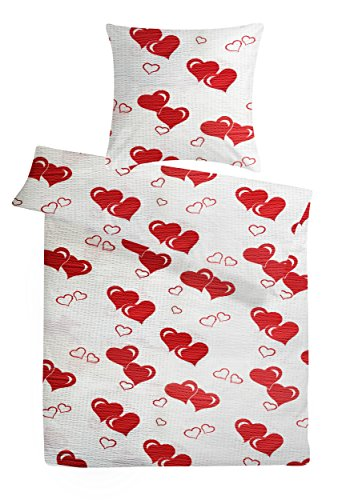"""Seersucker Bettwäsche """"Love"""" 135 x 200 cm Weiß mit roten Herz-en - Bettdecke und Kopfkissen-Bezug aus 100%-Baumwolle mit Reißverschluss - Der bügelfreie & luftig leichte Bett-Bezug für den Sommer"""