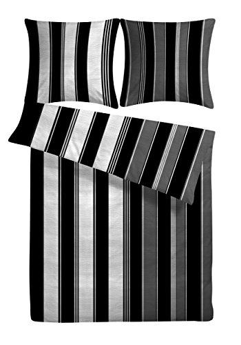 """Seersucker Bettwäsche """"Nobla"""" 135 x 200 cm schwarz weiß grau gestreift- Bettdecke und Kopfkissen-Bezug aus 100%-Baumwolle mit Reißverschluss - Der bügelfreie & luftig leichte Bett-Bezug für den Sommer"""