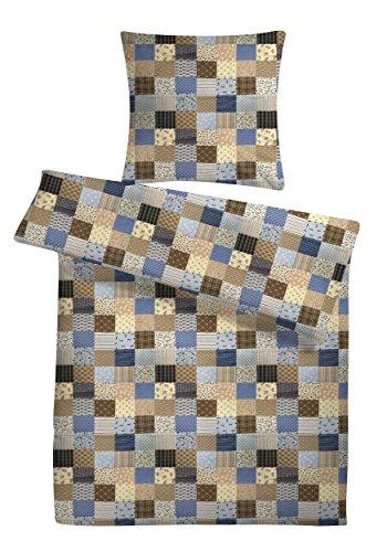 """Seersucker Bettwäsche-Set """"Patchwork-Muster"""" 155x220 cm Blau, Bettdecke und Kopfkissen-Bezug aus 100% Baumwolle mit Reißverschluss - Der bügelfreie & luftig leichte Bett-Bezug für den Sommer"""