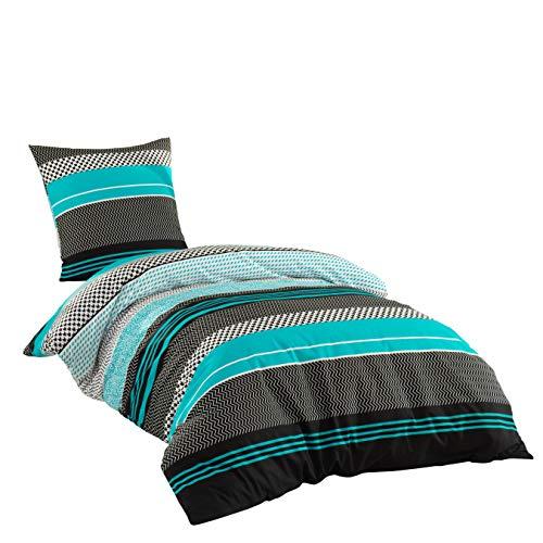 Sentidos Bettwäsche-Set 2-teilig, Renforcé Baumwolle, 135x200 cm Bett-Bezug und 80x80 cm Kissen-Bezug, Bett-Garnitur türkis/schwarz / weiß, Öko-Tex, für Allergiker geeignet