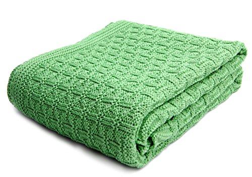 SonnenStrick 3009002 Babydecke/Kuscheldecke / Strickdecke aus 100% Bio Baumwolle kba Made in Germany, 100 x 90 cm, grün