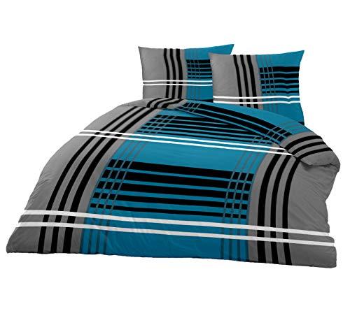 Superbetten-321 TOP Bettwäsche Garnitur in vielen Qualitäten und Größen mit RV in über 30 Verschiedenen Mustern (Grey Line, 220x240cm Baumwolle 3tlg)