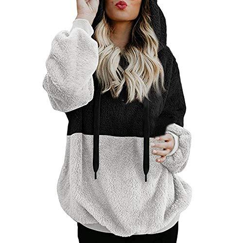 TianWlio Damen Hoodie Frauen Langarm Hoodie Mode Langarm Herbst Winter Hooded Sweatshirt Mantel Winter warme Wolle Reißverschluss Taschen Baumwolle Mantel Outwear