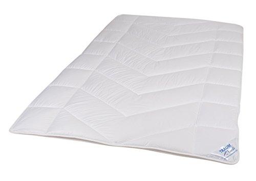 Traumnacht 5-Star Duo Bettdecke, aus reinem Baumwoll-Satin, 155 x 220 cm, waschbar, weiß