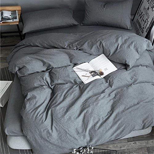 Unimall 2tlg. Bettwäsche 155x220 cm + 80x80 cm aus 100% Bio Baumwolle mit Reißverschluss Uni Anthrazit