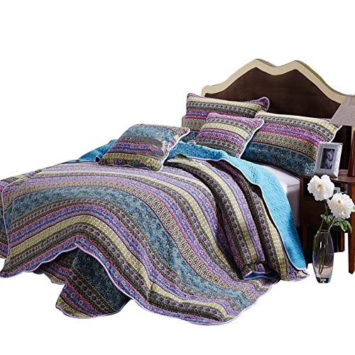 Unimall Tagesdecke Baumwolle 230 x 250 cm Bettüberwurf Doppelbett Plaid Wendeoptik Violet - Türkis