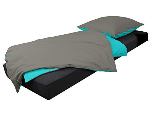 Wendebettwäsche mit je 2 modernen Unifarben in 10 verschiedenen Kombination + Komplettset in Einheitsgröße + inklusive Kissenbezug ca. 80 x 80 cm + Bettbezug ca. 135 x 200 cm + 100% Baumwolle, stahlgrau-türkis