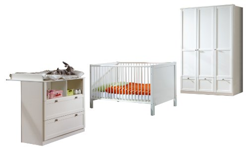 Wimex 318383 Set Babyzimmer FILOU 3-teilig bestehend aus Kleiderschrank 135cm, Babybett 70 x 140cm, Wickelkommode, Alpinweiß Landhausoptik