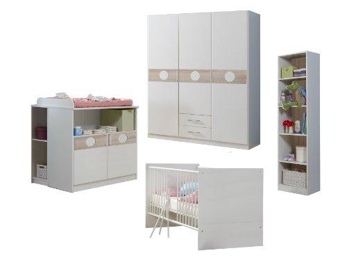 Wimex Babyzimmer Set Kimba, bestehend aus Kleiderschrank , Wickelkommode, Babybett, Unterschrank, Bettseiten, Regal, Liegefläche 70x140 cm, Mehrfarbig