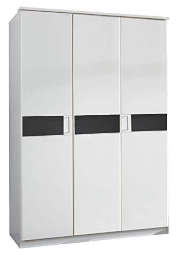 Wimex Kleiderschrank/ Drehtürenschrank Potsdam, (B/H/T) 135 x 197 x 58 cm, Weiß/ Absetzung Glas Schwarz