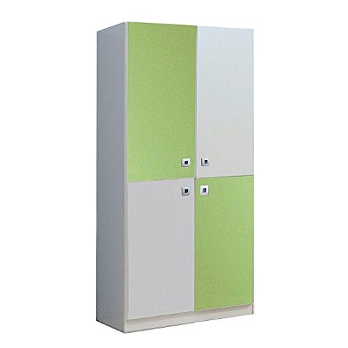 Wimex Kleiderschrank/ Drehtürenschrank Sunny, 4 Türen, (B/H/T) 90 x 198 x 58 cm, Weiß/ Absetzung Apfelgrün