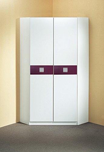 Wimex Kleiderschrank/ Eckschrank Jette, (B/H/T) 95 x 198 x 95 cm, Weiß/ Absetzung Brombeer