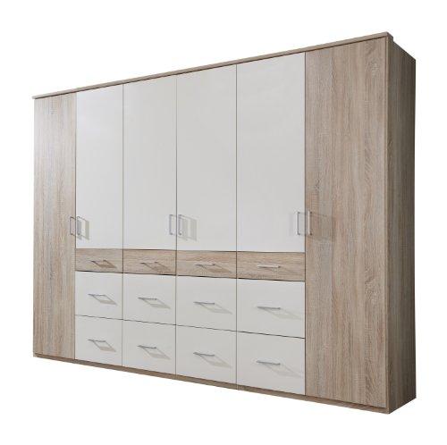 Wimex Kleiderschrank/Drehtürenschrank Click II, 6 Türen, (B/H/T) 270 x 210 x 58 cm, Eiche Sägerau/Absetzung Weiß