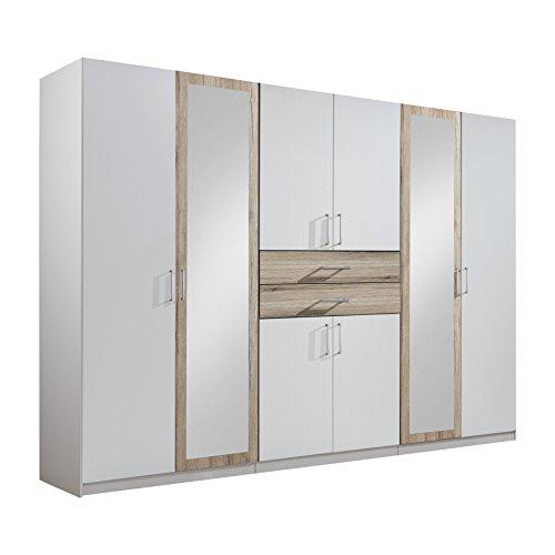 Wimex Kleiderschrank/Drehtürenschrank Diver, 8 Türen, 2 Schubladen, (B/H/T) 270 x 210 x 58 cm, Weiß/Absetzung San Remo-Eiche