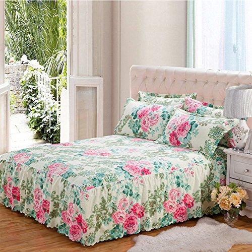 Yunhigh floral gepasst valance Bettblatt Rüsche Königin Größe Bett Rock Baumwolle elastische frilled Bettdecke