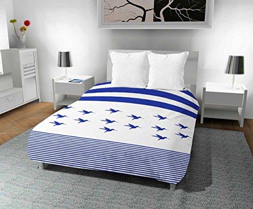 Zeitlos Bedruckte Bettdecke 240x 220cm Kolibri, Polyester, blau, 240x 220x 1cm