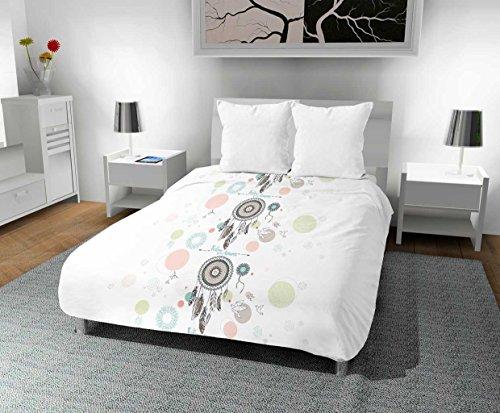 Zeitlos Bedruckte Bettdecke 240x 220cm Träume, Polyester, Weiß, 240x 220x 1cm