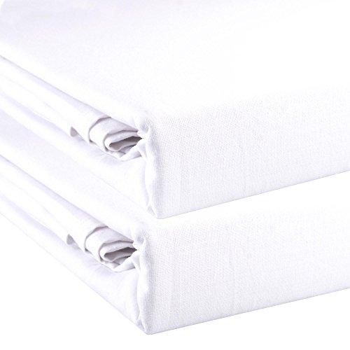 aqua-textil 2er-Set XXL Bettlaken Noblesse ohne Gummizug 2 Größen wählbar 100% Baumwolle Linon leichte Sommer-Bettdecke im Doppelpack 2X 240 x 290 cm weiß 2000129