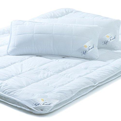 aqua-textil Bettdecken Set 4 Jahreszeiten 200x220 inkl. 2X Kopfkissen 40x 80, Steppdecke für Winter und Sommer, Mikrofaser Steppbetten-Set, Öko Tex, Waschbar 95 Grad, Soft Touch 0010965