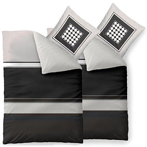 aqua-textil Bettwäsche 4tlg 135x200 Baumwolle Set Kopfkissen Bettbezug Reißverschluss atmungsaktive Bett Garnitur 80x80 Kissen Bezug karo punkte grau schwarz weiß 0011839 Trend Tanja