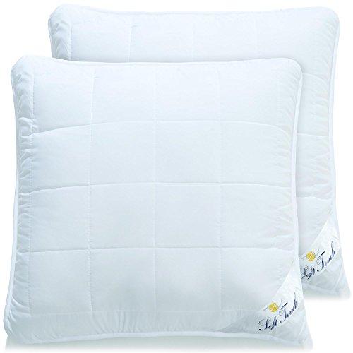 aqua-textil Soft Touch, 2er Set Kopfkissen 80x80, allergiker-geeignete Flauschige Kissen mit Reißverschluß, Waschbar 95 Grad, Atmungsaktiv Öko-Tex, 2000000