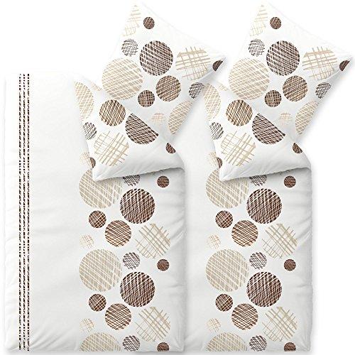 aqua-textil Trend Cleo Bettwäsche 4tlg 135x200 Baumwolle Set Kopfkissen Bettbezug Reißverschluss atmungsaktiv Bett 80x80 Kissen Streifen Punkte Kreise braun beige Natur weiß grau schwarz 2000154