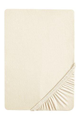 biberna 77144 Jersey-Stretch Spannbetttuch, nach Öko-Tex Standard 100, ca. 140 x 200 cm bis 160 x 200 cm, natur