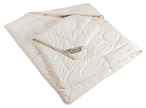 moebelfrank Bettdecke KBA+KBT Merino Schurwolle 4-Jahreszeiten Bett Decke BIO Baumwolle Nadia, Größe:135 x 200