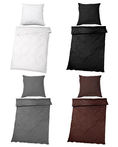myHomery Bettwäsche Set - Bettbezug mit Reißverschluss - Deckenbezug und Kopfkissenbezug modern - Öko-Tex Standard Uni - 100% Microfaser oder 100% Baumwolle Anthrazit | 135x200cm & 80x80cm Baumwolle
