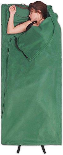 normani Fleece Schlafsack Hüttenschlafsack Inlet Liner - leicht, praktisch und warm [190 x 75 cm - 200g/m²] Farbe Oliv