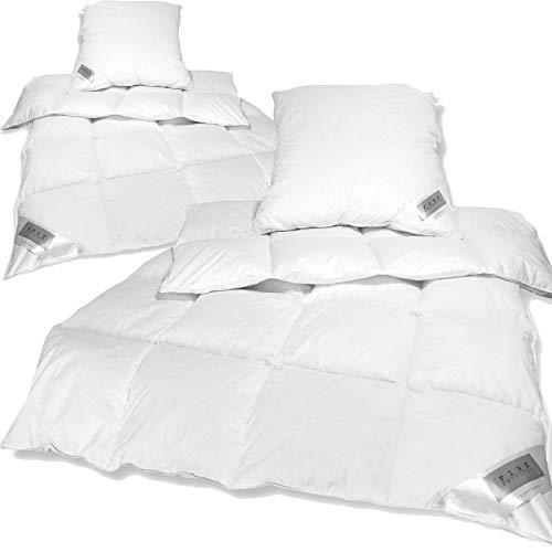 nxtbuy 2X Betten-Set: 2 Federbettdecken Daunen Bettdecken 135 x 200 cm und 2 Federkissen 80 x 80 cm - Premium Daunendecke Steppdecke und prall gefülltes Kopfkissen
