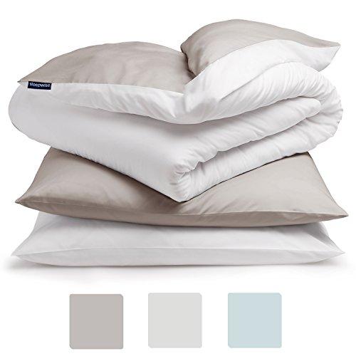 sleepwise ,Soft Wonder' Bettwäsche | extra-kuschelig, atmungsaktiv, faltenfrei, Hypoallergen | Ganzjahres Bettbezug-Set | 3teilig - 200x200cm und 2X 80x80 Kissenbezüge | Taupe/weiß