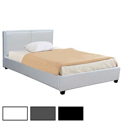 CARO-Möbel Polsterbett Doppelbett Celine schwarz oder weiß, 120 x 200 cm, inklusive Rollrost Kunstlederbezug