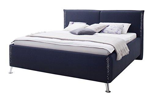 sette notti Polsterbett 160x200 Schwarz, Bett mit Strass, Bett Liegefläche 160x200 cm, Sunrise Art Nr. 1335-10-4000