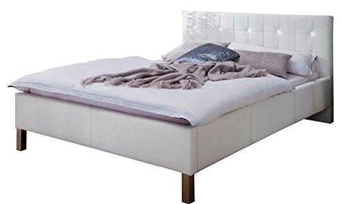 sette notti  Polsterbett Bett 140x200 Weiß mit Strasssteinen, Kunstleder Bett mit Liegefläche 140x200 cm, Cristallo Art Nr. 1383-10-3000