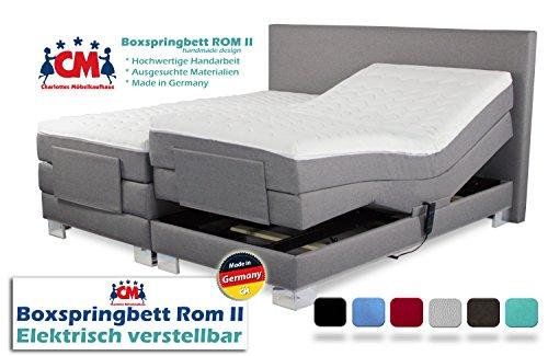 Boxspringbett ROM II elektrisch verstellbar Manufaktur Design. Härtegrad H2 / H3 frei wählbar. Made in Germany. 90x200   100x200   140x200   160x200   180x200   200x200 cm. Qualität Made in Germany.