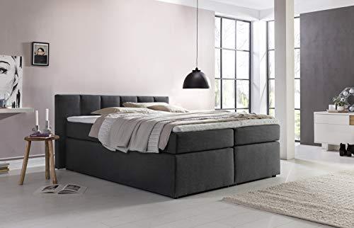 Furniture For Friends Boxspringbett Valina inkl. Visco-Topper ideal für Dachschrägen, 7-Zonen Taschenfederkern-Matratze, Hotelbett Doppelbett Polsterbett