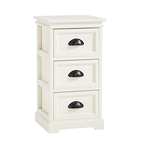 CARO-Möbel Nachtkommode Landhaus Nachttisch Nachtschrank Nachtkonsole für Boxspringbett in weiß, 3 Schubladen