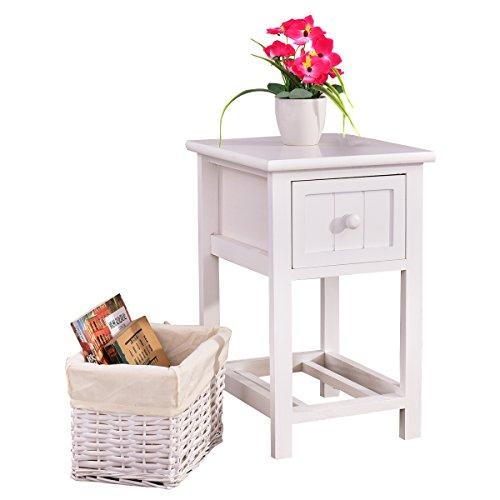 COSTWAY Nachttisch mit Korb Nachtkonsole Nachtschrank Nachtkommode Beistelltisch Beistellschrank Flurtisch Badregal mit Schublade weiß