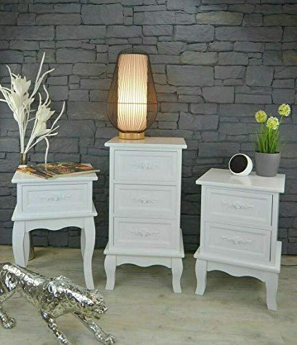 Livitat® Nachttisch Nachtschrank Nachtkonsole Nachtkommode Weiß barock