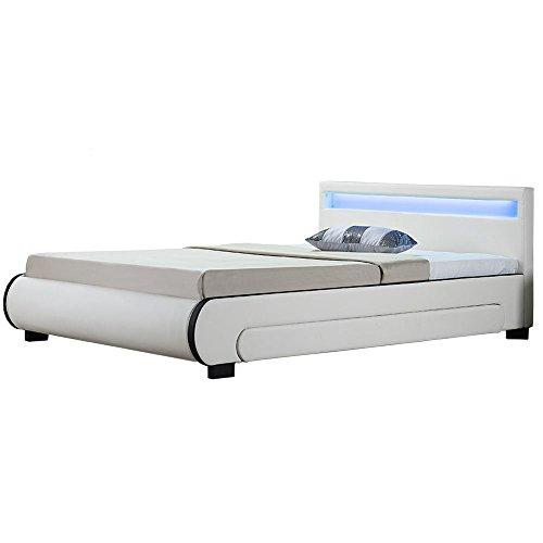ArtLife Polsterbett Bilbao 140x200 cm - Bett mit Bettkasten, LED Beleuchtung & Lattenrost – aus Holz & Kunstleder – weiß – Jugendbett Bettgestell