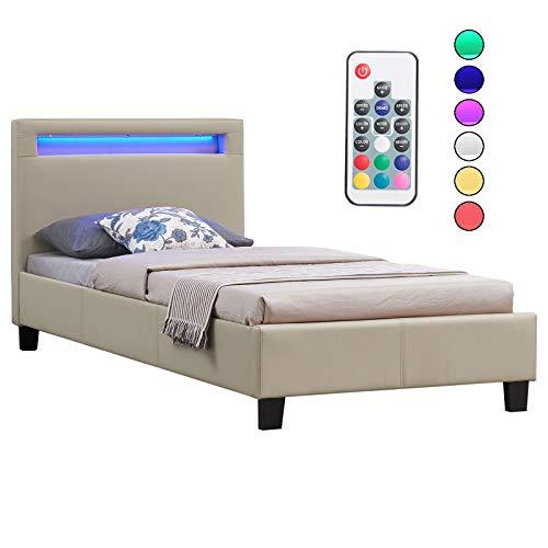 CARO-Möbel Polsterbett Mandalay mit LED Beleuchtung Einzelbett Lederbett 90 x 200 cm mit Lattenrahmen, Lederimitat in beige