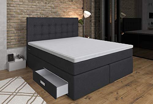 Boxspringbett Ankona 160x200 - Schublade,7 Zonen-Taschenfederkern-Matratzen,H2/H3,Topper Komfortschaum-3D Bezug,Anthrazit