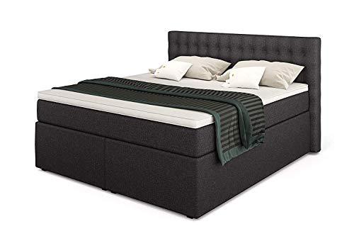 Betten Jumbo King Boxspringbett 180x200 cm 7-Zonen TFK Härtegrad H3 und Visco-Topper   Farbe: Anthrazit   versch. Größen verfügbar