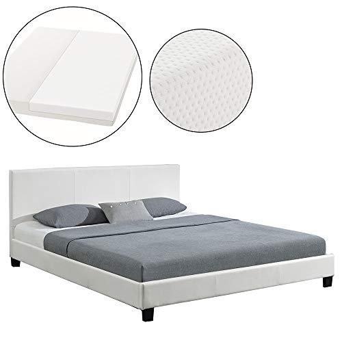 ArtLife Polsterbett Barcelona 180 x 200 cm mit Matratze – Bett inkl. Lattenrost & Kopfteil – Holzgestell & Kunstleder – weiß – Doppelbett