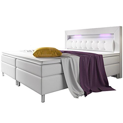 ArtLife Boxspringbett Montana 180 x 200 cm weiß – Komplett Set mit Matratze und Topper – LED-Licht im Kopfteil – Bett aus Kunstleder und Holz - modern