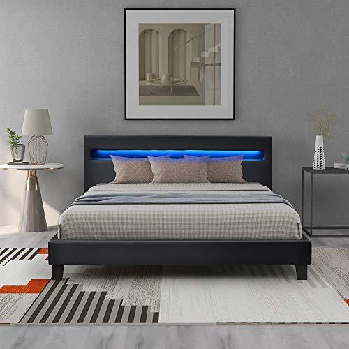 LED Polsterbett Lattenrost – Kunstleder Bezug & Holz Gestell in grau,inkl. LED-Beleuchtung, Kunstleder & Lattenrost, Jugendbett Bett (140 x 200 cm) (Schwarz)