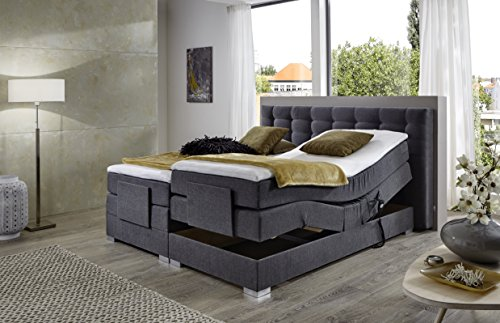 Atlantic Home Collection MIA Motor-Boxspringbett Stoff Grau 180 x 200 cm